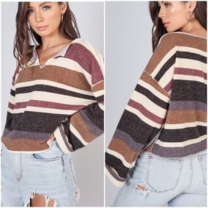 🆕 CLAUDIA Slouchy Striped Cuffed Sleeve Sweater